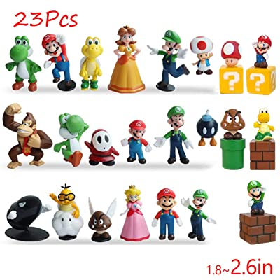 "Gumair Super Mario Action Figures Toy 23 Pcs 1.42""~2.68"" Mario、Luigi、Yoshi、Peach Princess、Daisy Princess etc. Perfect Super Mario Cake Topper Decorations: Toys & Games"