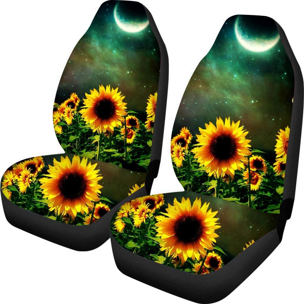 YORXINGY Vehicle Seat Covers for Women Fashion Sunflower Car Interior Seat Protector Full Set of 2 Pieces Fit Most Vehicle Sedan Trucks SUV or Van