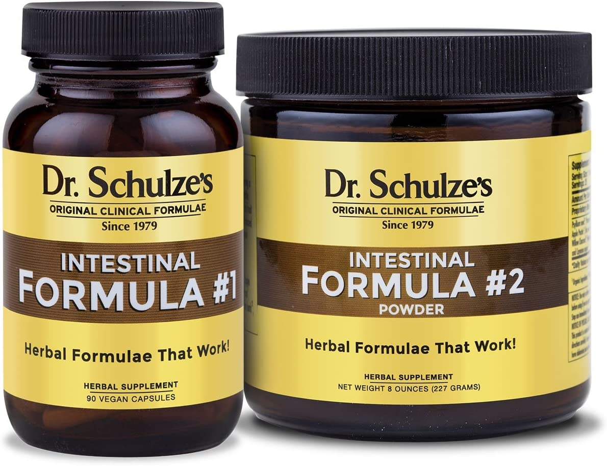 Dr. Schulze s Intestinal Formula 1 2 Combo Colon Cleanse Detox Dietary Supplement Natural Constipation Relief Remove Excess Waste Build-Up Herbal Tablets Powder 90 Count 8 Oz Jar