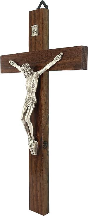 30 cm Croix murale en bois de noyer avec Christ en m/étal