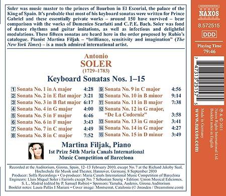 Antonio Soler : Sonates pour clavier n° 1 à n° 15: Antonio Soler , Martina Filjak: Amazon.es: Música