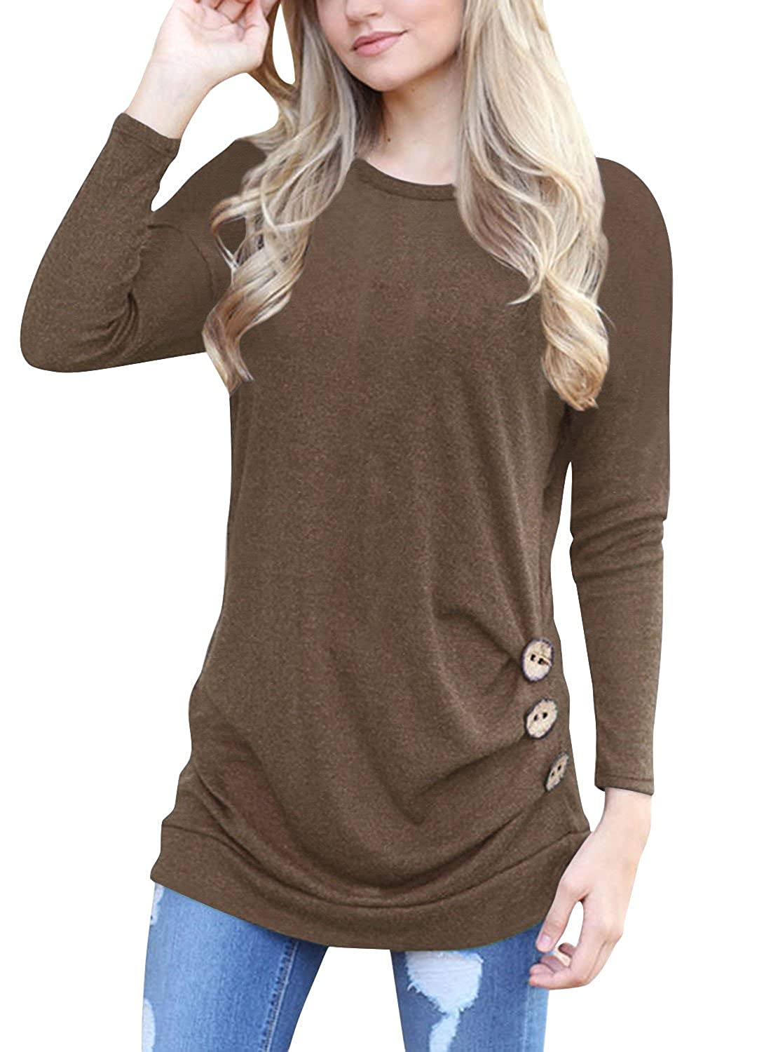 Women Casual Button Decor Loose Tunic T Shirt Cotton Blouse Tops
