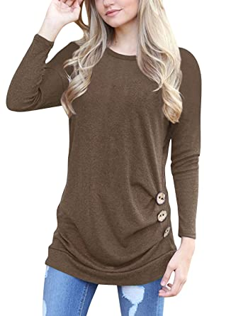 ea5aff57d91 OURS Women s Casual Long Sleeve Round NEC Brown Basic T Shirt Blouse Tops  (S