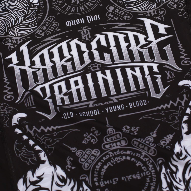 Hardcore Training Rash Guard Mens Muay Thai Lange /Ärmel Grundschicht Herren MMA BJJ Crossfit Gym Kompressions Shirt Kampfsport