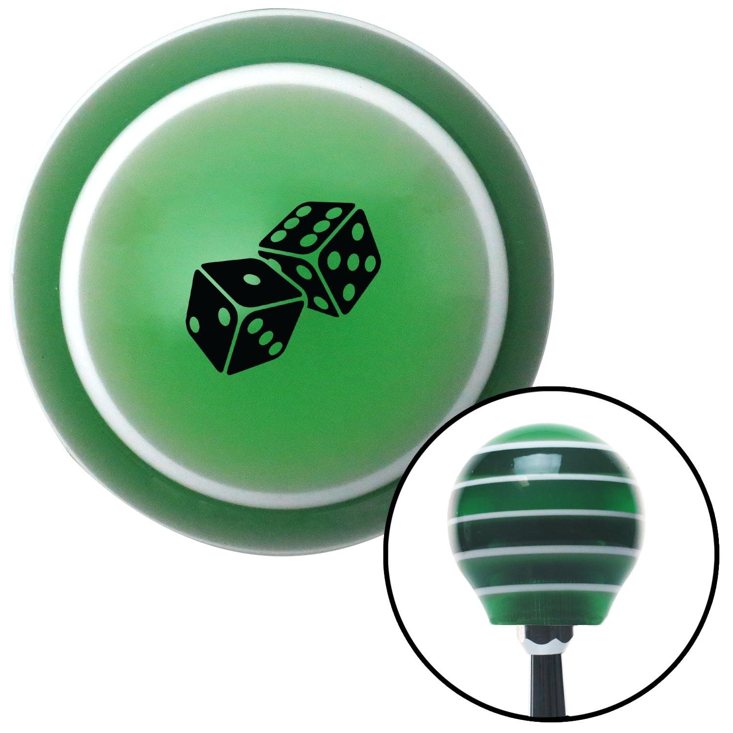 American Shifter 275018 Shift Knob Black Set of Dice Green Stripe with M16 x 1.5 Insert