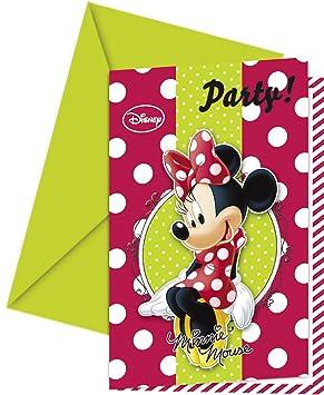 Invitación para Fiesta con Lunares Rojos de la Ratita Minnie de Disney 6 Unidades con Sobres