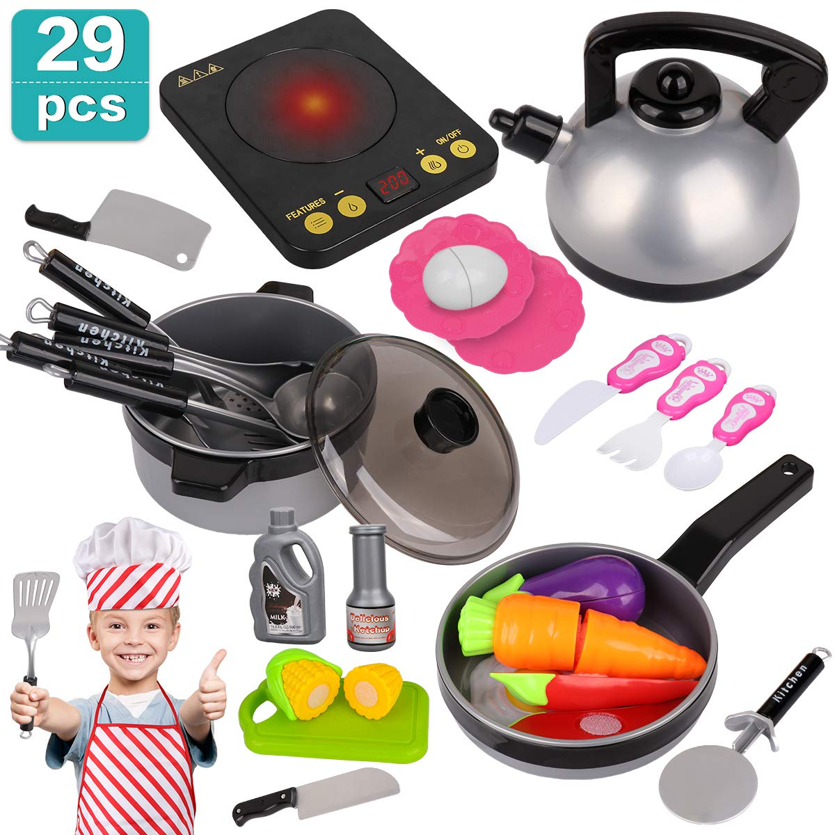 Kids Kitchen Pretend Play Set - 29Pcs Kitchen Toys Including Induction Cooker with Light Sound, Apron&Chef Hat, Cookware Utensils, Cutting Food Playset Accessories for Toddlers Girls Boy Birthday Gift by Meland