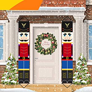 Jolik Nutcracker Banner for Chrismas Great Product Outdoor Nutcracker Christmas Decoration - 6.2ft Solider Nutcracker Christmas Banner for Front Door Yard Porch Garden Indoor Kids Party