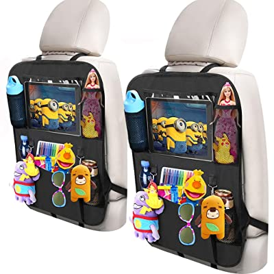 """Adevena Car Backseat Storage Organizer with 10"""" Tablet Holder + 5 Storage Pockets Car Seat Back Protectors Kick Mat Car Seat Organizer for Kids Toddlers Toy Bottle Drinks Vehicle Accessories (2 Pack): Baby"""
