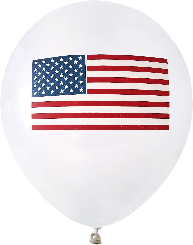 8 globos blancos USA con bandera (23 cm): Amazon.es: Juguetes y juegos