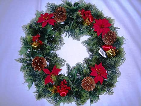 Garthwaite Nurseries 18 Christmas Wreath Decoration Door Artificial Xmas Red Poinsettias Holly Cones Amazon Co Uk Garden Outdoors