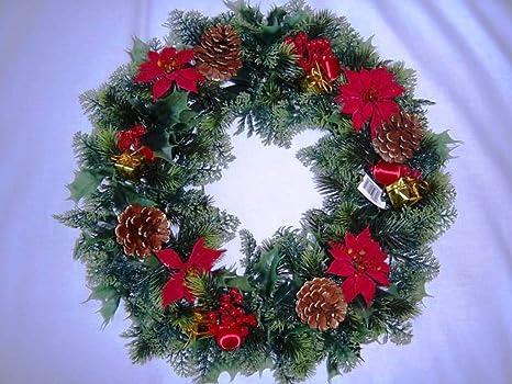 Garthwaite Nurseries 18 Christmas Wreath Decoration Door Artificial Xmas Red Poinsettias Holly Cones Amazon Co Uk Garden Outdoors