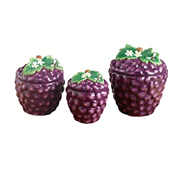 American Atelier 3 Piece Grape Canister Set, Purple