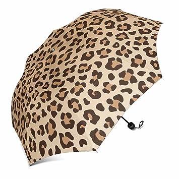 InterestPrint - Paraguas Compacto de Viaje, portátil, Plegable, diseño de Leopardo (43 Pulgadas): Amazon.es: Juguetes y juegos