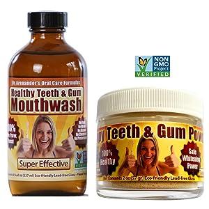 Gum Disease Help! Happy Teeth & Gum KIT - Helps Gum Recession, Removes Plaque - Organic/nonGMO Happy Teeth & Gum Powder and Healthy Teeth & Gum Mouthwash for Maximum Preventive Oral Care