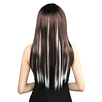 Amazon neitsi 10pcs 18inch colored highlight synthetic clip neitsi 10pcs 18inch colored highlight synthetic clip on in hair extensions 1001 white pmusecretfo Images