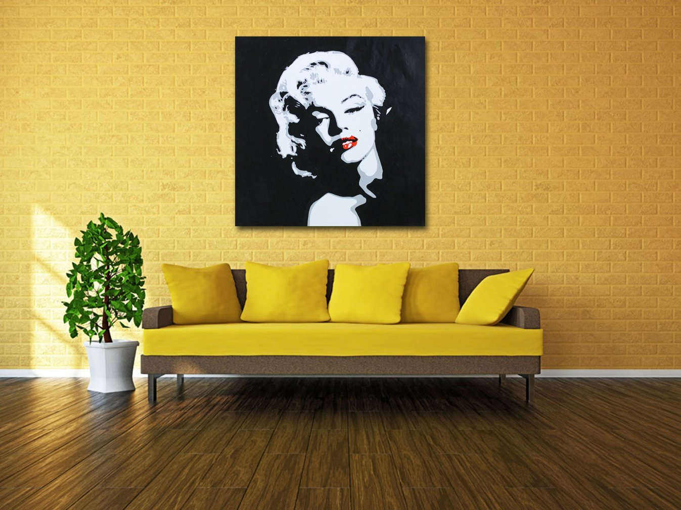 Amazon.com: Muzagroo Art Oil Painting Hand Painted on Canvas Marilyn ...