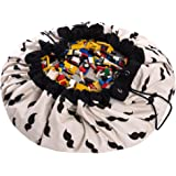 Play Mat and Toy Storage Bag - Durable Floor Activity Organizer Mat - Large Drawstring Portable Container for Kids Toys, Book