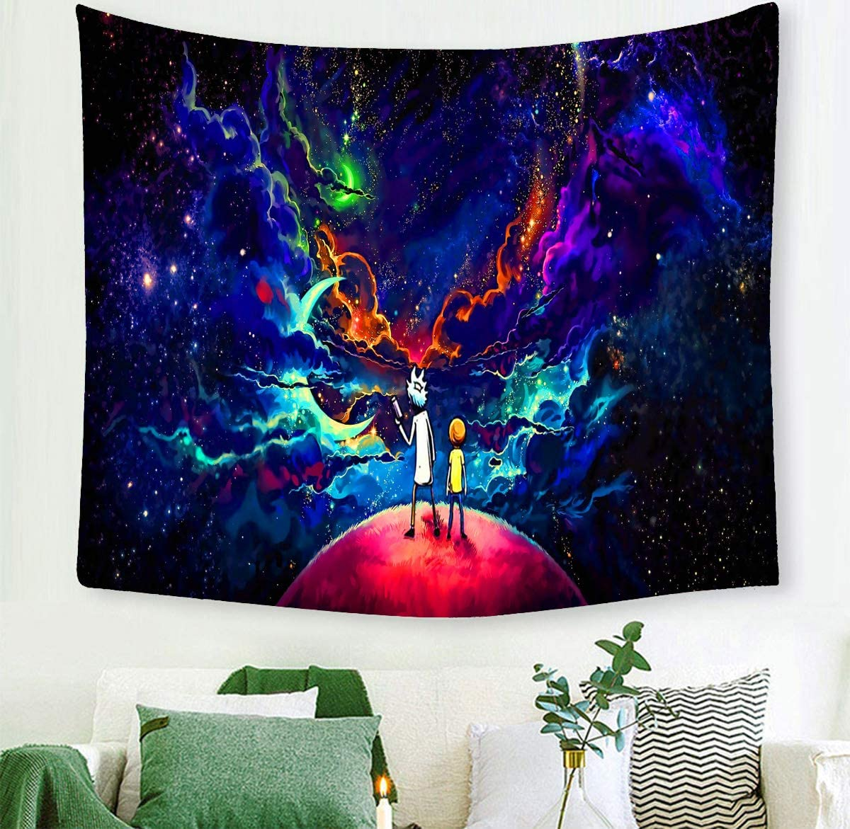Amazon Com Macofcust Psychedelic Rick Morty Tapestry Moon Star