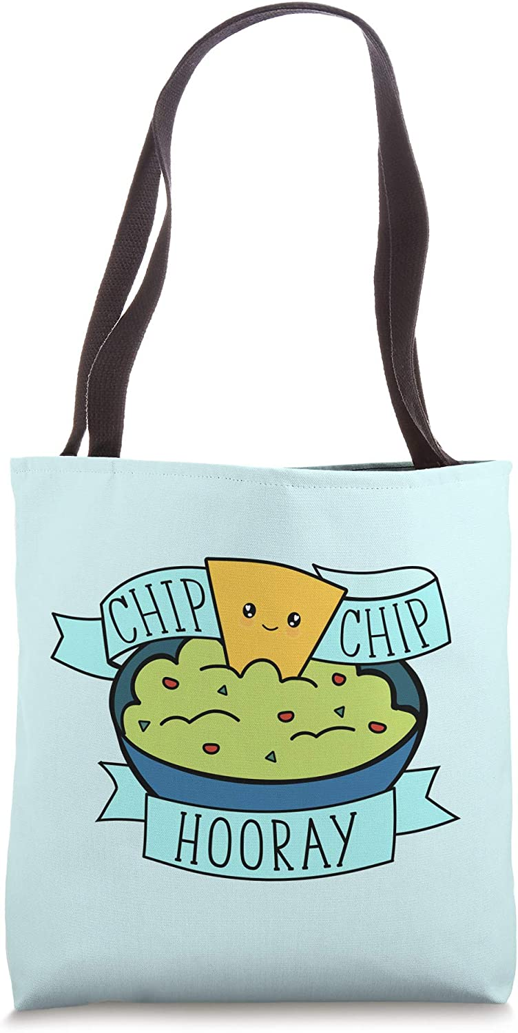 Chip Chip Hooray - Cute Guacamole & Chips Food Pun Tote Bag
