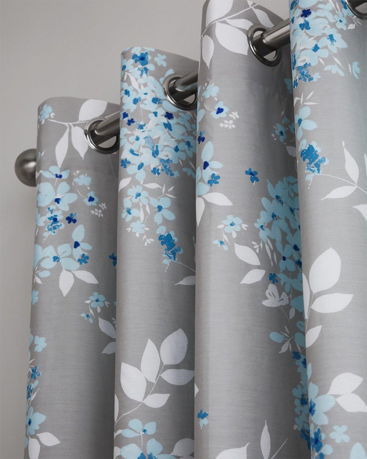Lancashire Textiles Deluxe Sophia Floral Duck Egg Blue//Grey Filled Boudoir Cushion