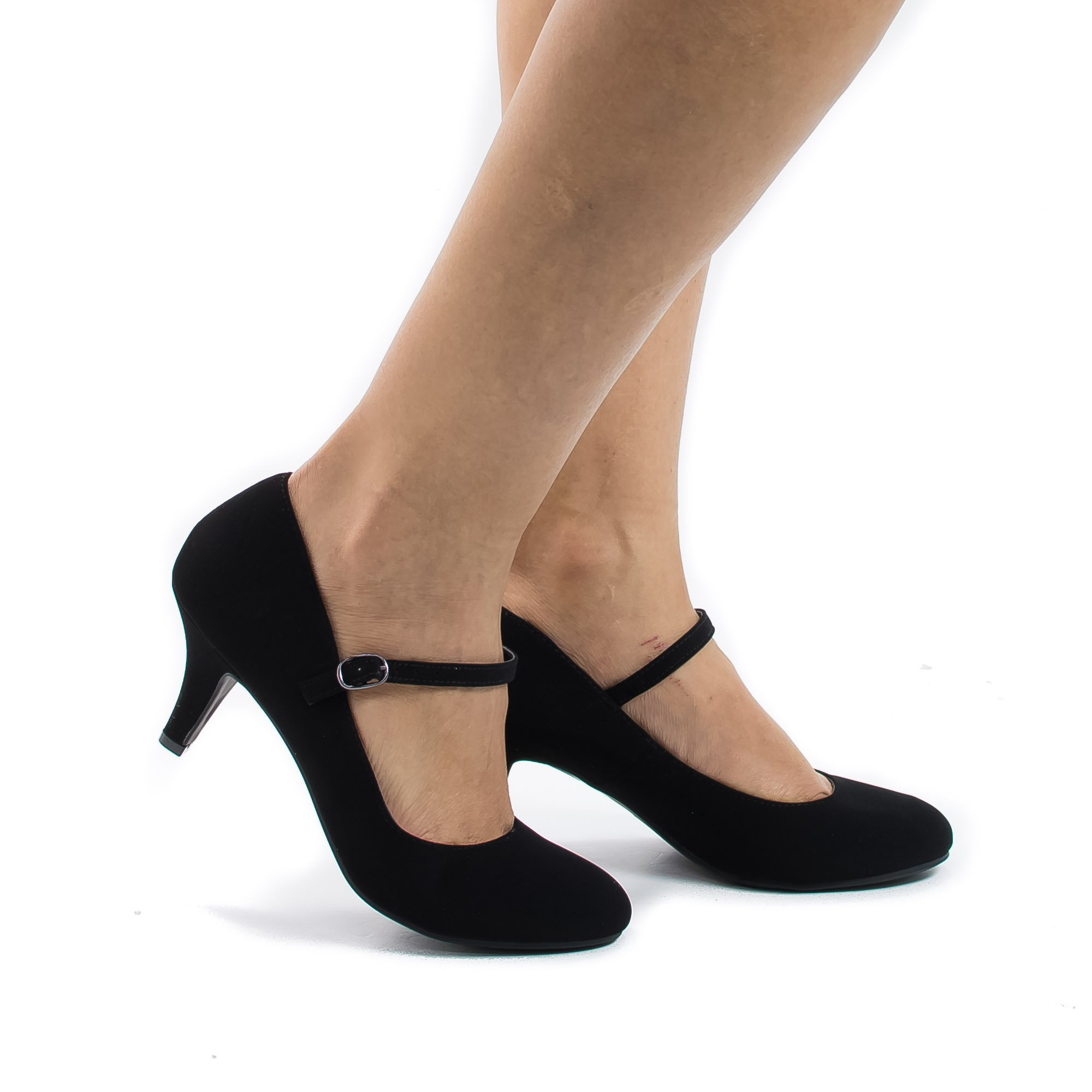 Kirk Black Round Toe Mary Jane Extra Padded Insole Comfort Dress Pumps-6