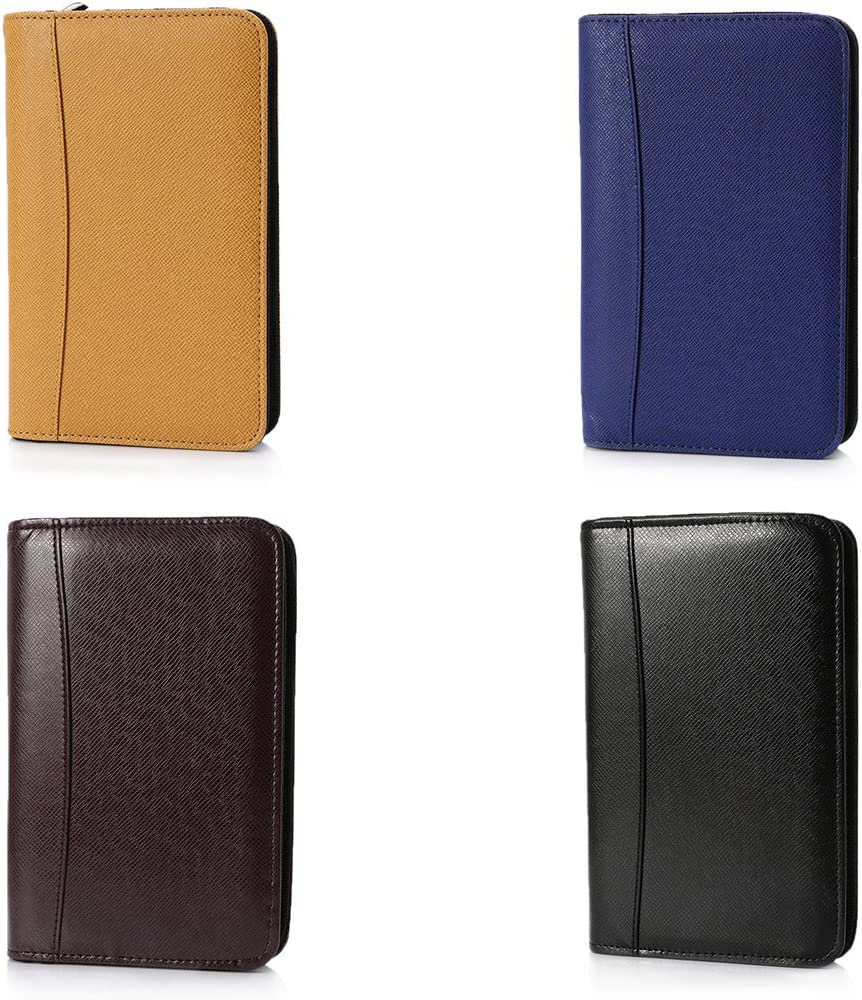 MEIYIN PU Leather Cover A6 Zipper Notebook Loose-Leaf Business Notepad with Calculator