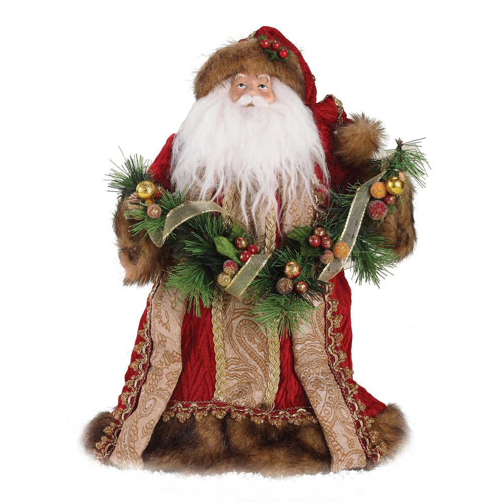 Roman 14-Inch Burgundy Santa with Gold Accents Tree Topper 35548