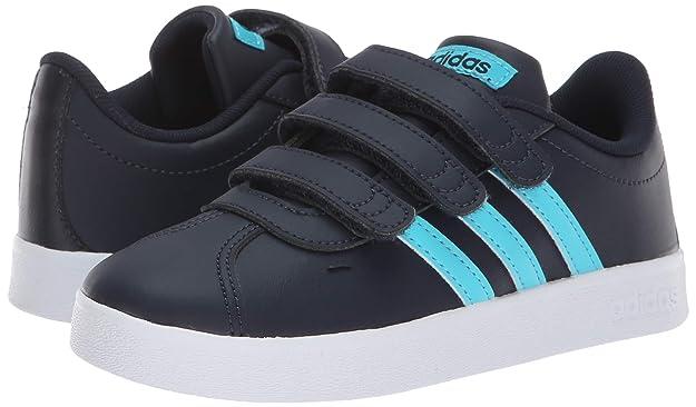 adidas Kids' VL Court 2.0 Sneaker, Legend InkBright CyanWhite, 2 M US Little Kid