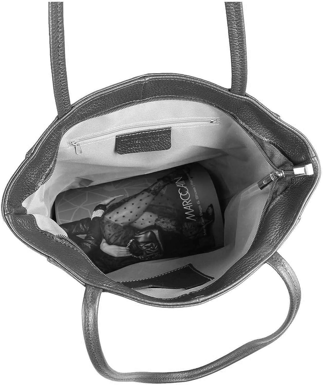 OBC Made in Italy Damen Echt Leder Tasche Shopper Schultertasche Henkeltasche Din-A4 Tote Bag Handtasche Umhängetasche Ledertasche Beuteltasche Rosa