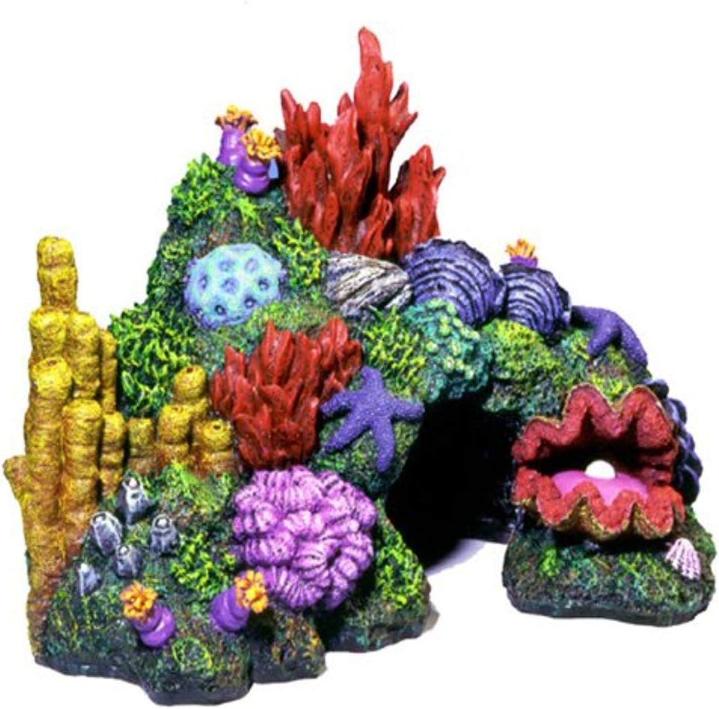 Exotic Environments Australian Barrier Reef with Clam Aquarium Ornament