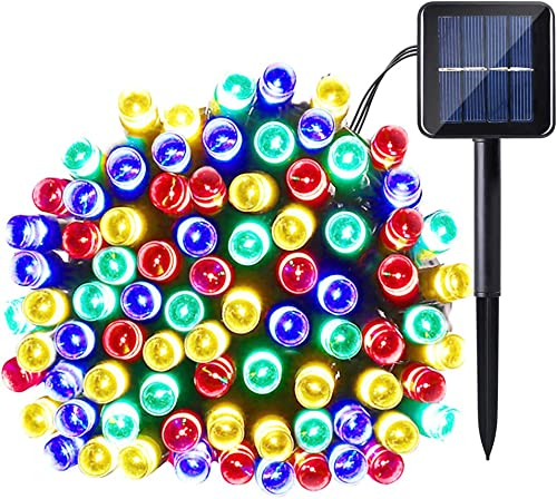 Qedertek Solar String Light, 33ft 100 LED 8 Modes Light Sensor Control Waterproof Decorative Ambiance Light For Patio, Lawn, Garden, Fence, Balcony, Party, Holiday, Christmas Decorations Multicolor