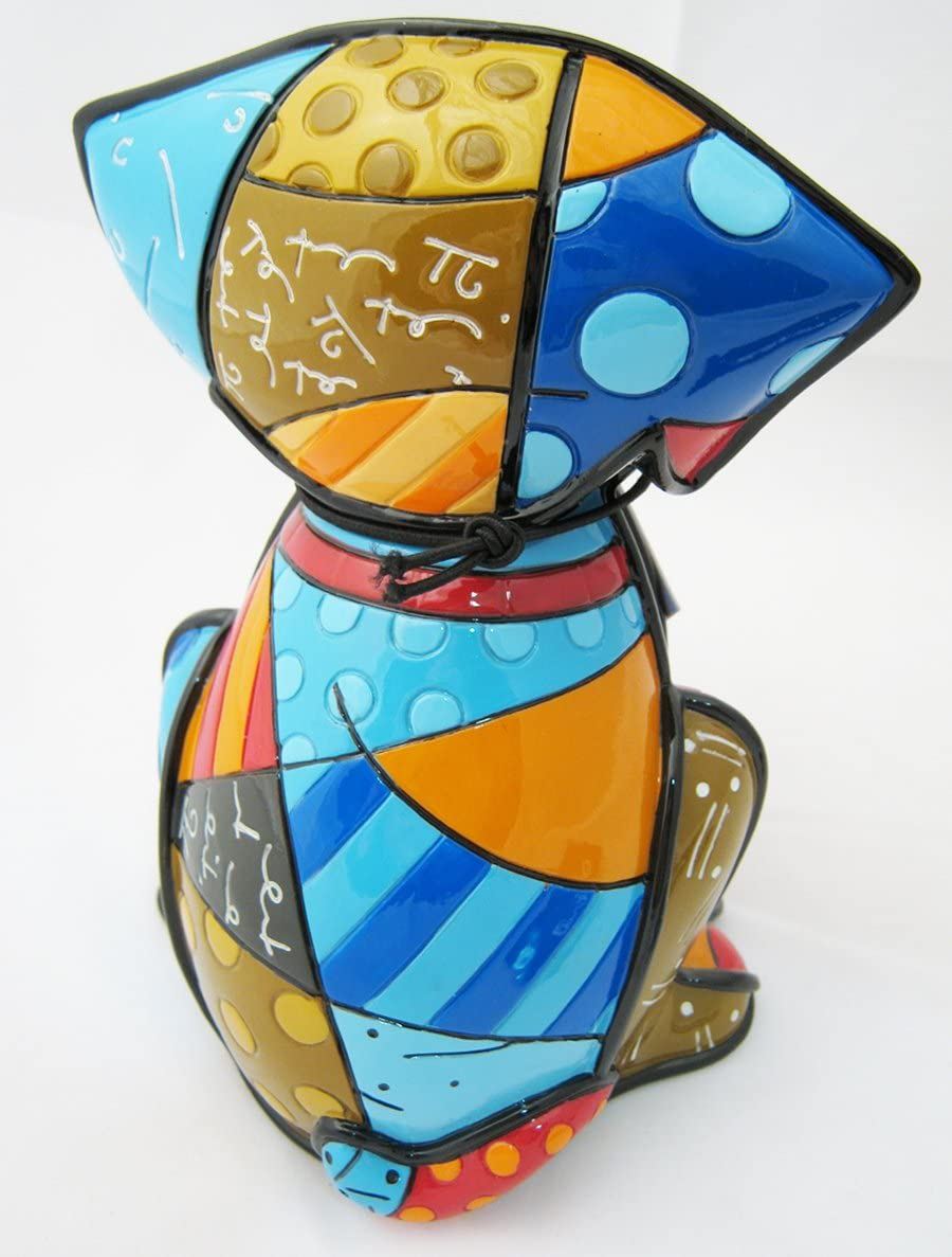 Romero Britto Boxer Dog Ceramic Sculpture Color Gift