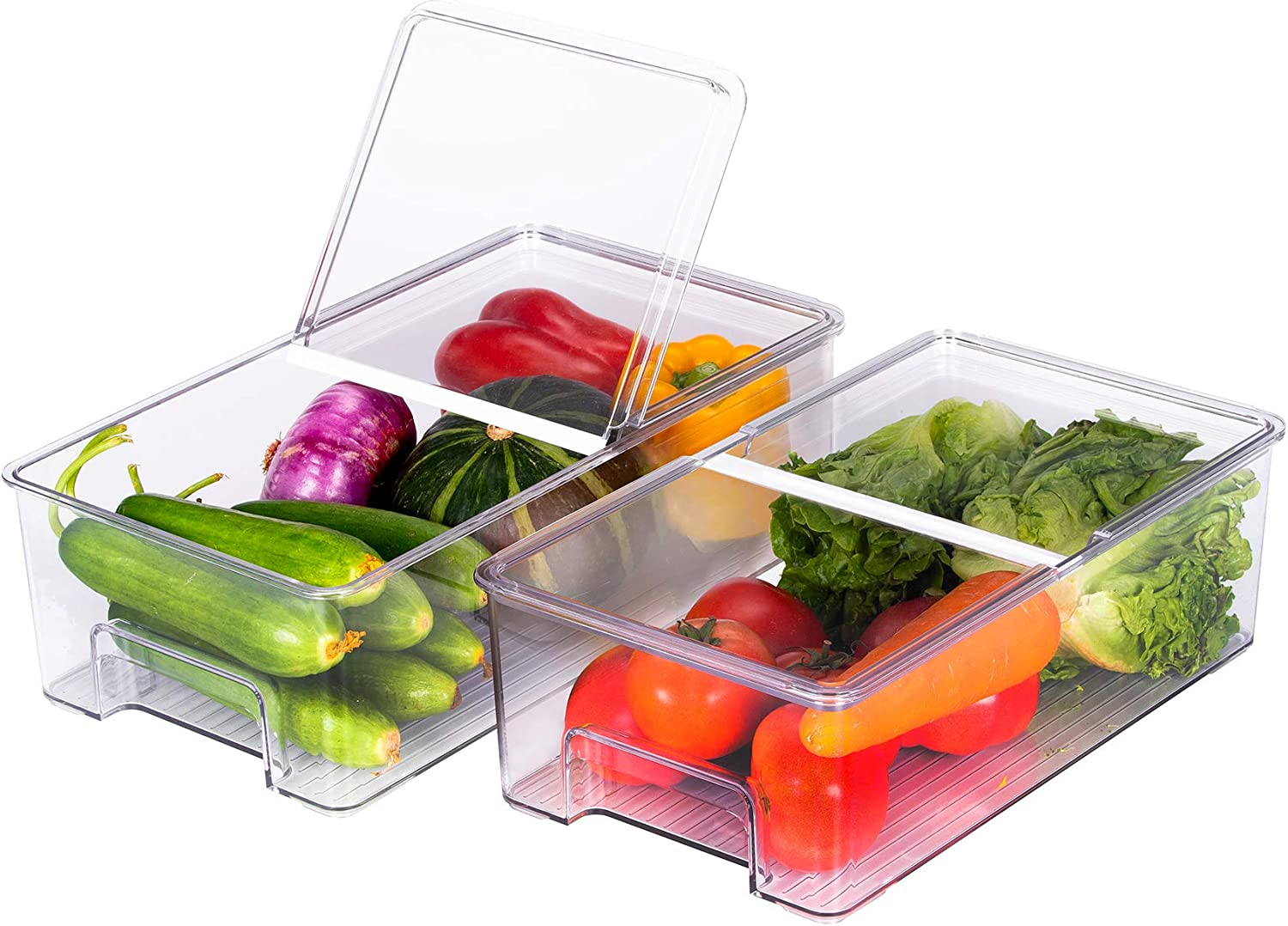 REFSAVER Refrigerator Food Storage Container Bin 2 Pack Fridge Trays with Foldable Lid Kitchen Organizer Produce Bin for Vegetables,Fruits,Snacks
