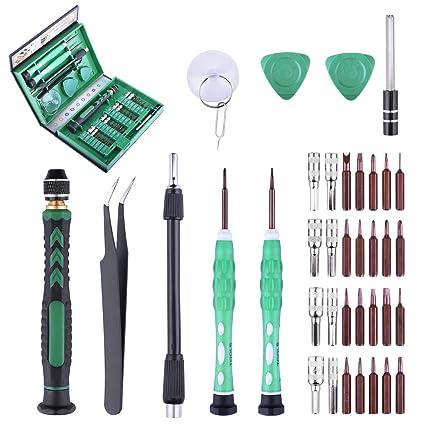 Longruner 38 en 1 Juego Destornilladores de Precision Screwdriver Set S2 Magnético Kit Herramientas Pinzas Pry Ventosa para iphone iPad PC Teléfonos ...