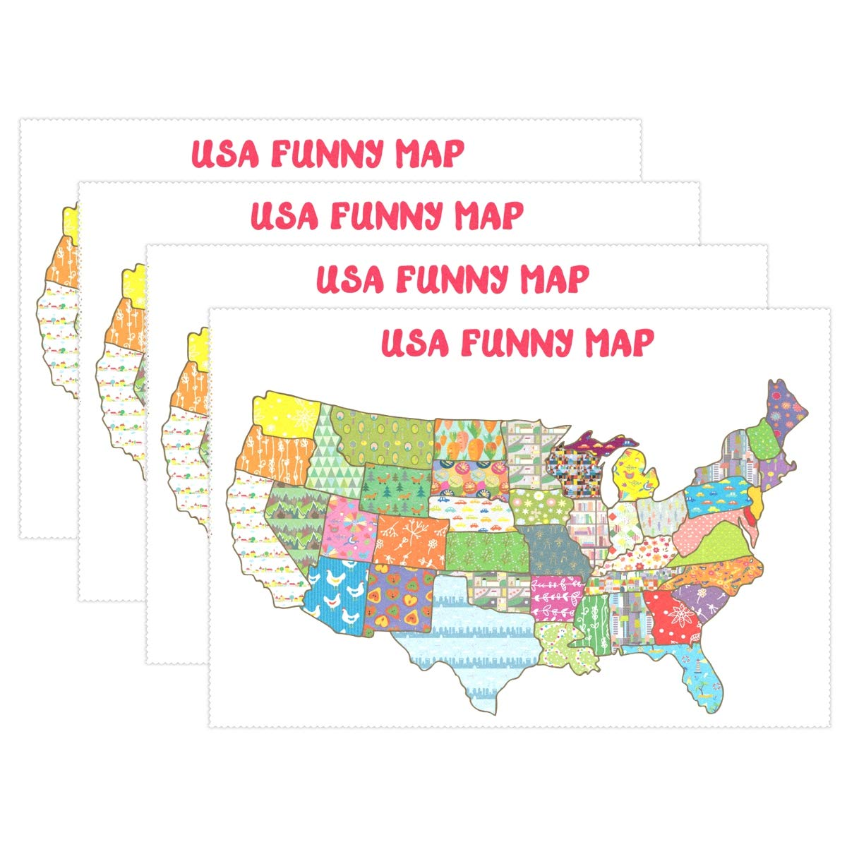 Us Map Funny.Amazon Com Yochoice Alaza United States Funny Map Placemat Plate