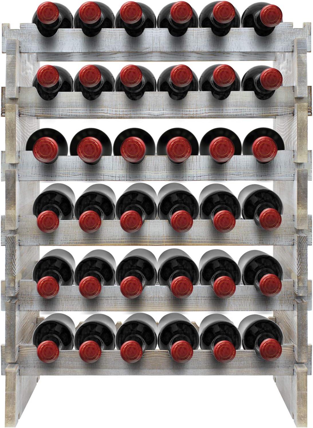 Sorbus Stackable Wood Wine Rack — Rustic Style Wine Racks for Bottles — Perfect for Bar, Wine Cellar, Basement, Cabinet, Pantry, etc. (6-Tier, Grey Wood)