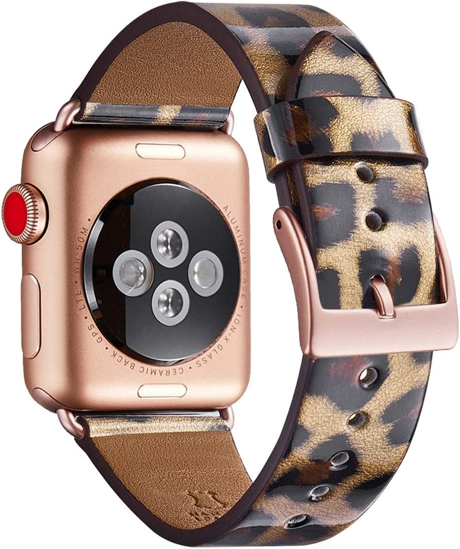 WFEAGL Compatible iWatch Band 38mm 40mm, Top Grain Leather Band with Gold Connector (Same as Series 5/4/3 with Gold Aluminum Case in Color) for iWatch Series 5/4/3/2/1 (Leopard band+Rose Gold Connector)