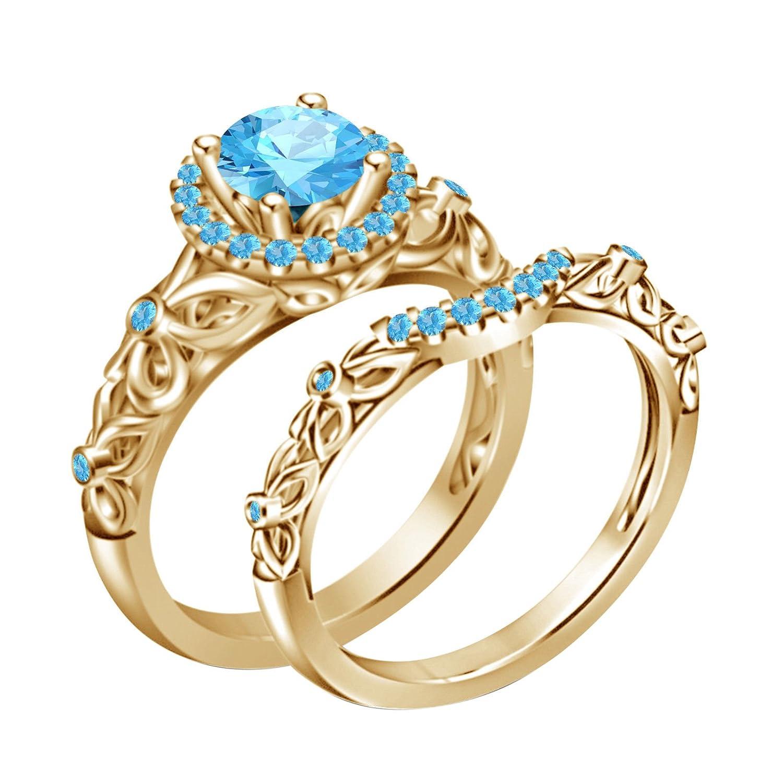 14k Yellow Gold Plated on Alloy w/Aquamarine Disney Princess Bridal Ring Set (6) Silverstargemsjewellery SSR0183_Y-Aq