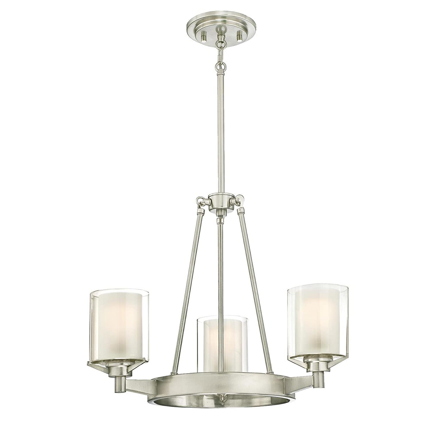 Westinghouse Lighting 6330800 Glenford Three-Light Indoor Chandelier Brushed Nickel Finish with Frosted Inner and Clear Glass Outer Shades 3