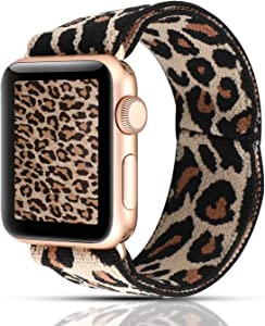 YOSWAN Stretchy Loop Strap Compatible for Apple Watch Band 40mm 38mm 44mm 42mm iWatch Series 6/5/4/3/2/1 Stretch Elastics Wristbelt (Light Cheetah/Leopard, 38mm/40mm)