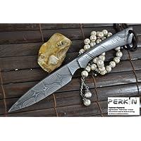 faite à la main All damassé–Couteau de chasse–Belle couteau de camping avec fourreau