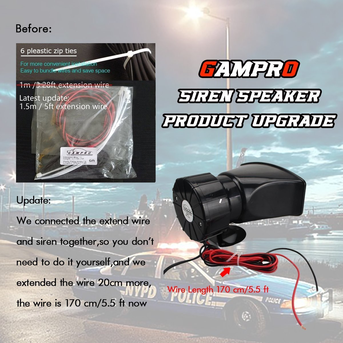 GAMPRO Car Recording Siren Speaker, 12V 80W 3 Tones Car Siren Horn ...