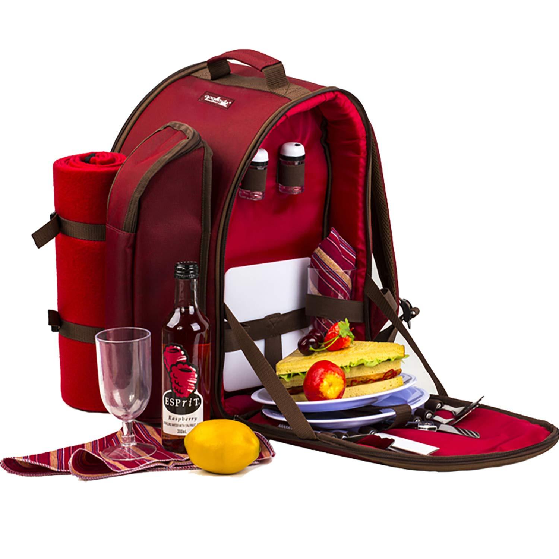 *Apollowalker, roter Picknickrucksack für 2Personen, Korb mit Kühltasche, inkl. Geschirr und Fleece-Decke*