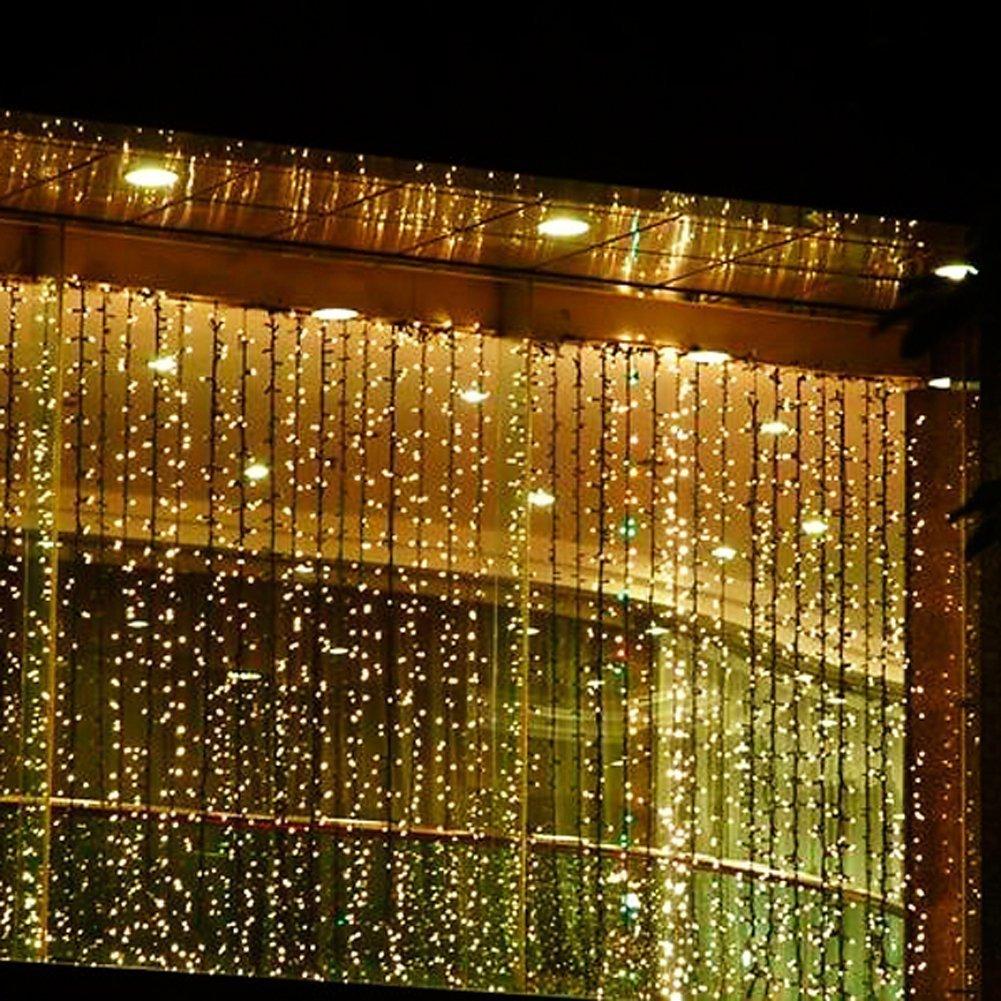 E-Plaza 4M x 3M 400 LED Cubierta Al aire libre LED Cortina Ligero para Fiesta Navidad Hotel Festival Cortina Ligero con 8 Controlable Modos IP44 Nominal (Blanco Caliente)