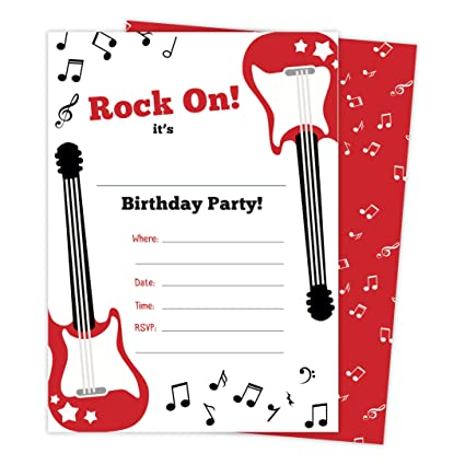 Amazon guitar 2 music happy birthday invitations invite cards guitar 2 music happy birthday invitations invite cards 25 count with envelopes seal filmwisefo