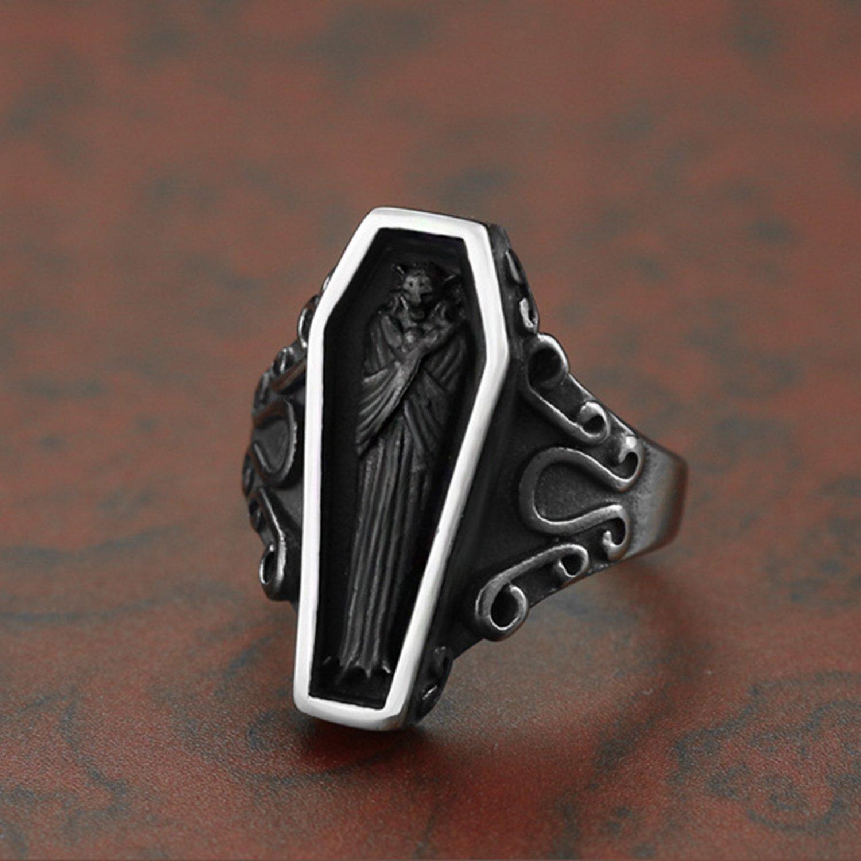 LILILEO Jewelry Vintage Portrait Vampire Coffin Ring For Men s