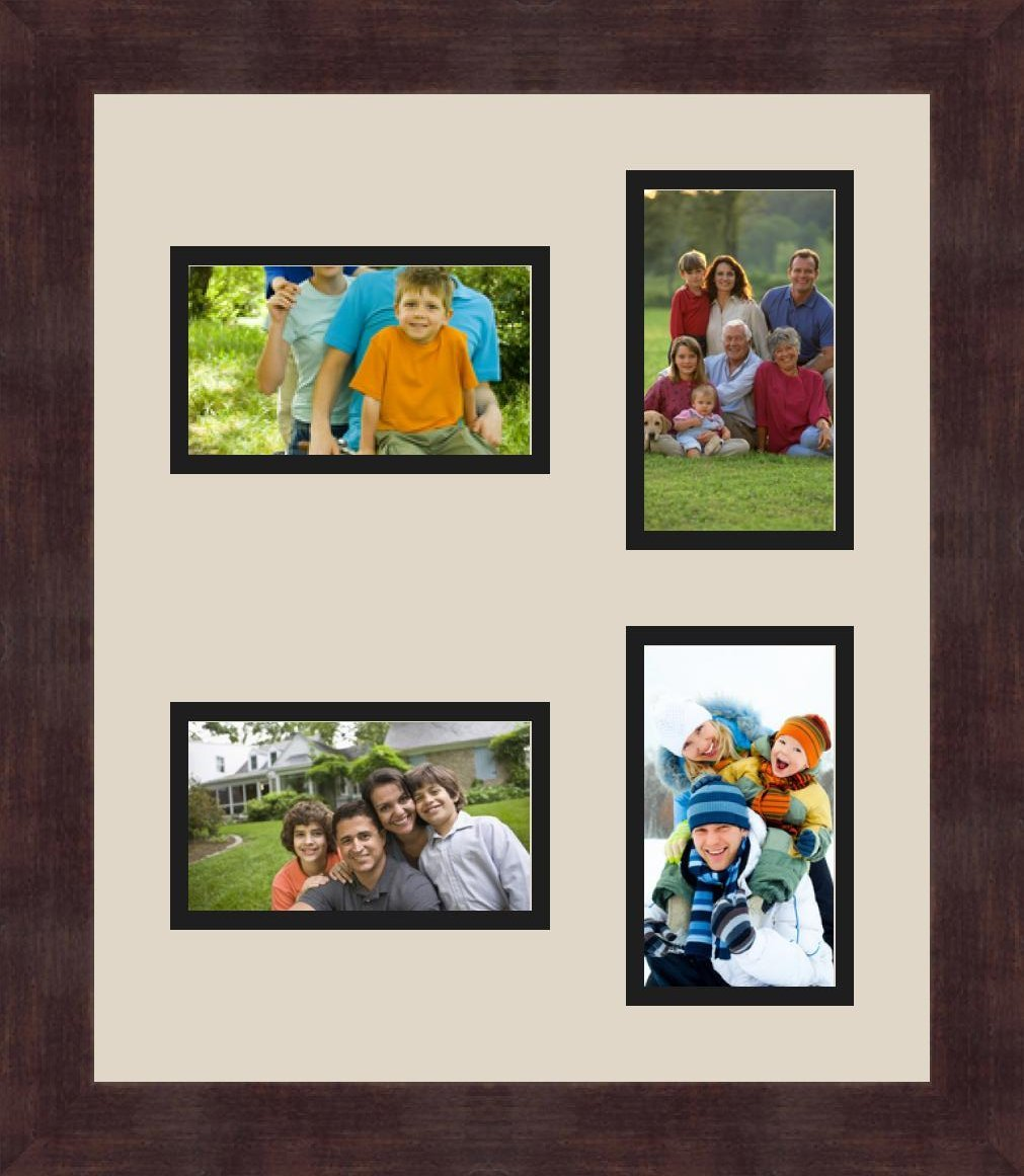 ArtToFrames 1.25-Inch Espresso Picture Frame with 4 Openings of 3 by 5-Inch and a Seaside Top Mat and Black Bottom Mat