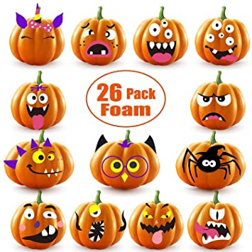 26 Sets Halloween Foam Pumpkin Decoration Stickers, Self Adhesive 3D  Pumpkin Face Decorating Stickers Craft for Parties, Kids, School or Other