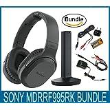 Sony RF995RK Wireless RF Headphones, Zonoz 6FT Stereo Audio Y Cable Splitter & Worldwide Voltage 110V/220V AC Adapter, Zonoz International Two-Prong Round Pin Plug Adapter (Bundle)